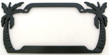 amazoncom palm trees license plate frame black plated metal automotive