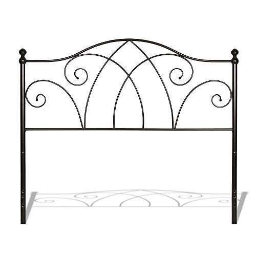 Fashion Bed Group Deland Metal Headboard Panel with Arched Rails and Finial Posts, Brown Sparkle Finish, King ()