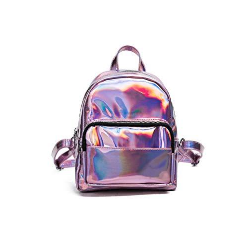 Rainie002 2019 Women Backpack Zipper Pu Leather Backpack Solid Color Holog Laser Women School Laptop Backpack,B Pink,20 X 23 X 9 Cm (Best Golf Swing Training Aids 2019)