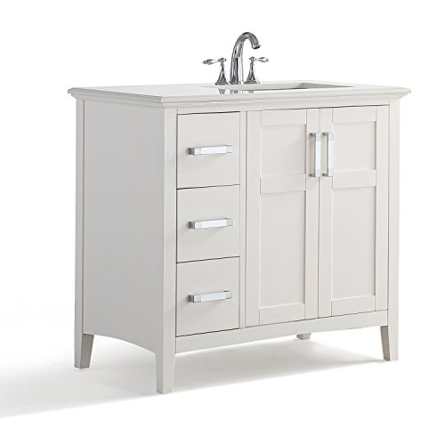 Simpli Home Winston 36 inch Right Offset Bath Vanity with Quartz Marble Top, Soft White