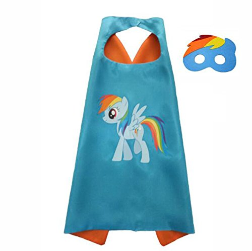 My Little Pony Costume For Boys (Amknn My Little Pony Cloak and Masks Set Kids Halloween Costume Cloak Cosplay Performance Party Costume (7070 cm, Orange))