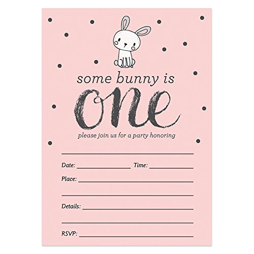 1st Birthday Invitations with Envelopes (Pack of 25) Bunny Blank Baby Girl Invites, First Birthday Party Invites Excellent Value by Digibuddha VI0010B
