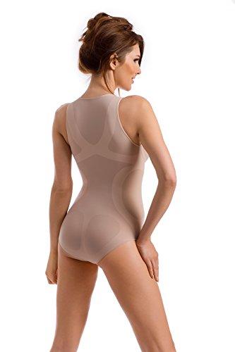 Envie® Damen Shapewear Body figurformend für einen flachen Bauch, Taille und Po, hebt und formt die Brüste, seamless - (Made In Italy) Natur S - 36 EU