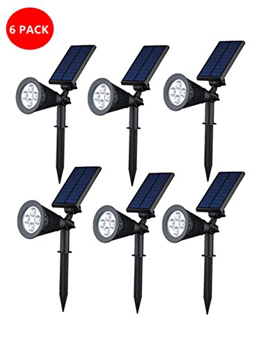 [Upgraded 3rd Generation]GMFive 2 in 1 Installation Outdoor LED Solar Spotlight / Solar Powered Light for Patio,Landscape, Garden, Driveway, Yard, Lawn, Accents, Security Lighting, Pool Area, Etc.(6)