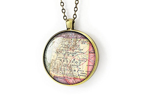 Handmade 1950 New Mexico map necklace NM jewelry bronze memento gift for her