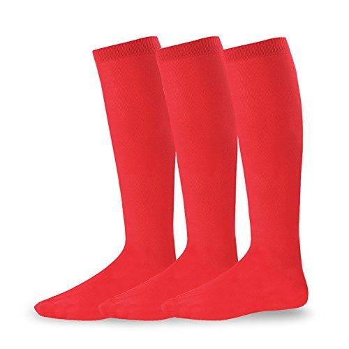 Soxnet Acrylic Unisex Soccer Sports Team Cushion Socks 3 Pack (Large (10-13), Red)