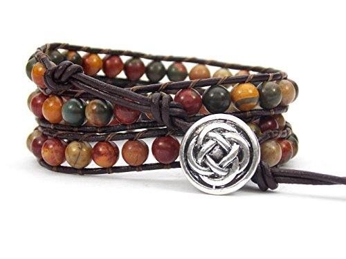 Celtic Knot Bracelet Leather Picasso Jasper Beaded Wrap (Silver Plated Button) (Irish Celtic Jewelry)