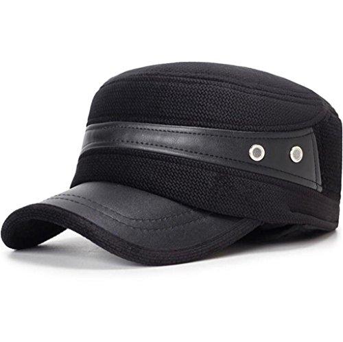 Aged cuero Otoño pu Hombre ZHAS Hat Moda Middle sombrero Black de Invierno de Gorro Men's 0PxxwqH8