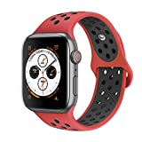 AdMaster Compatible with Apple Watch Bands 42mm 44mm,Soft Silicone Replacement Wristband Compatible with iWatch Series 1/2/3/4 - M/L Red/Black
