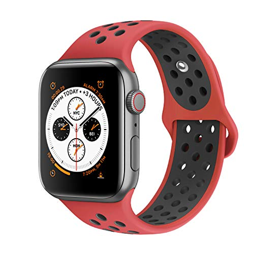 AdMaster Compatible for Apple Watch Bands 38mm,Soft Silicone Replacement Wristband Compatible for iWatch Apple Watch Series 1/2/3 - S/M Red/Black