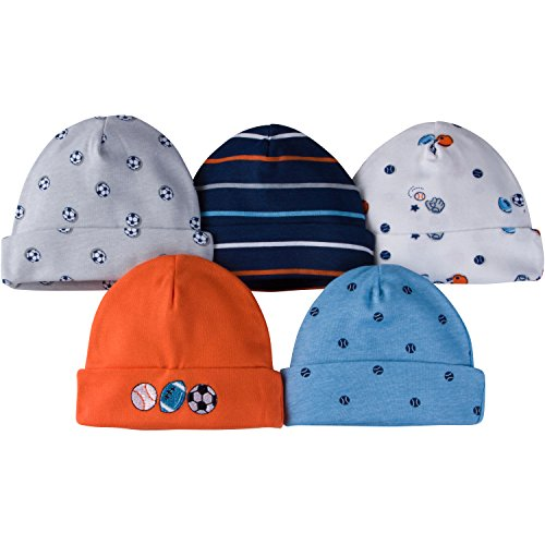 Gerber Baby Boys' 5-Pack Caps, Little Athlete, 0-6 - Ribbed Striped Cap