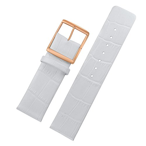 22mm White Luxury Watch Bands Replacements for High-end Wrist Watches Thin Matt Genuine Italian Leather Rose Gold Buckle
