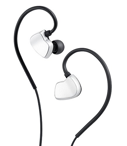 AudioMX In-Ear Headphones Dual Driver, Noise Cancelling Earphones with Mic / Controller, with Carrying Case (Silver) by AudioMX