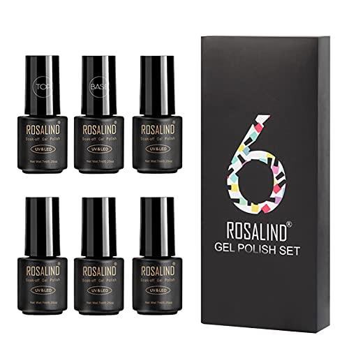 Long-lasting Color Gel Nail Polish Set Nail Kit 7ml6, Nail Art Design Gifts Set for Women and Girls(K)