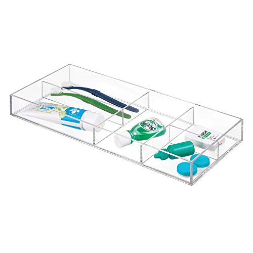 mDesign Slim Plastic Drawer Organizer Tray with 5 Storage Compartments for Bathroom Vanity, Countertop, Cabinet to Hold Makeup, Medical, Dental Supplies, Accessories - - In Holder Toothbrush Drawer