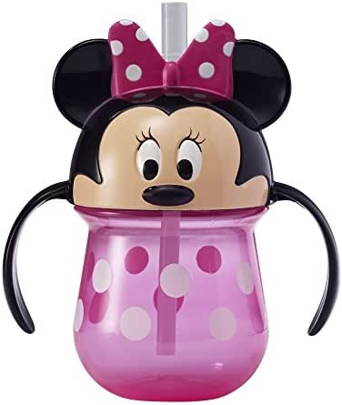 The First Years Disney Baby Trainer Straw Cup with Handles, Minnie