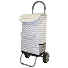 dbest products Cooler Trolley Dolly, Gray Chevron Insulated Cooler Bag Folding Collapsible Rolling Shopping Grocery Tailgating BBQ Beer Ice Cart