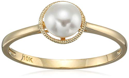 (10k Gold Swarovski Crystal Pearl June Birthstone Ring, Size 8 )