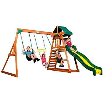 Amazon Com Backyard Discovery Dayton All Cedar Wood Playset Swing