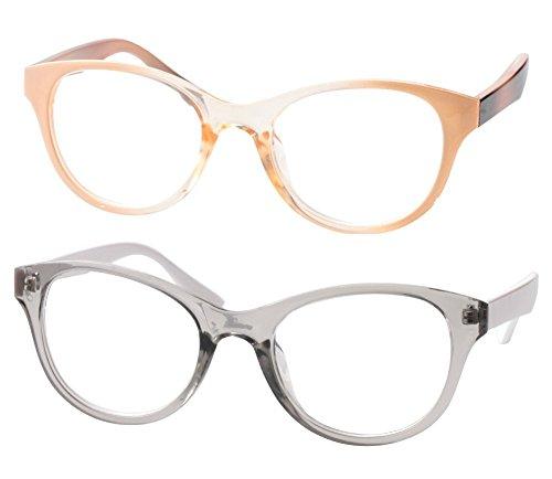 SOOLALA Lovely Hit Color Oversized Clear Lens Eye Glasses Frame Wide Reading Glasses, PinkTrans, 1.5D