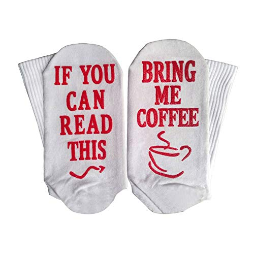 Yinpinxinmao Bring Me Coffee Funny Letter Creative Print Breathable Cotton Men Women Long/Short Socks Middle Tube Socks Red Short ()