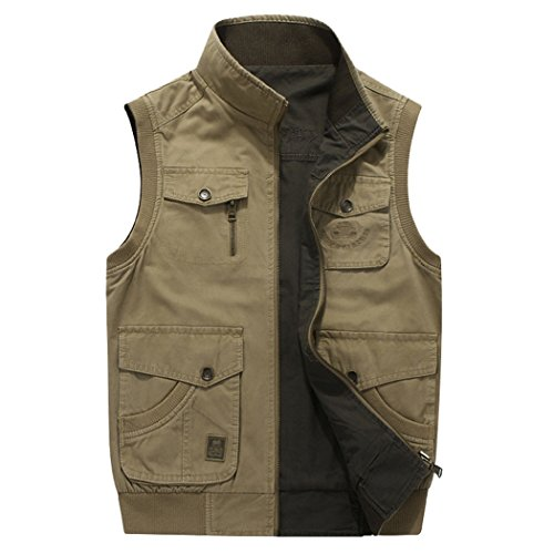 Real Spark Men's Oversize Outdoor Reversible Photographers Vest with Multi Pockets ArmyGreen XXXXL by Real Spark
