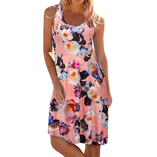 YAYUMI Prime Amazon Day, Womens Crew Neck Printed Sleeveless Casual Tunic Tops Summer Swing Dress Pink