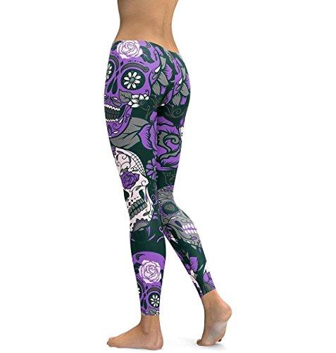 ZEZKT☼Schädel Kopf Print Yoga Leggings Hohe Taille Gym Hosen Workout Kleidung Yoga Hosen Damen Frauen Gederuckt Elastizität Sportwear Fitness Anzüge Jogging Übergröße Sporthosen Tights Violett