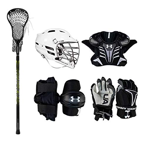 Under Armour Strategy Youth Lacrosse Starter Set W/Complete Stick (Cascade CPV-R Helmet) (Youth Medium)