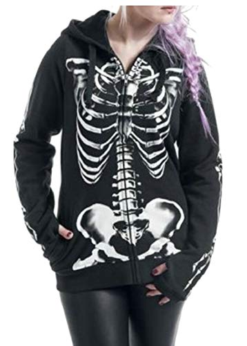 (Gocgt Women Halloween Sweatshirt Zip up Skull Skeleton Print Hoodie Black)