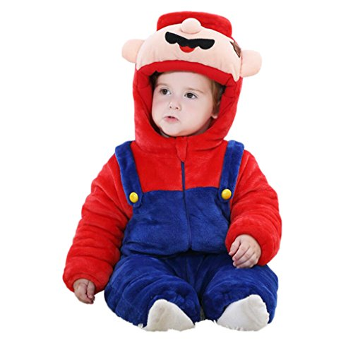 [Aokaixin Infant Baby Toddler Hoodie Rompers Costume Baby Suit (Height:28.7-31.5'', Super Mario)] (Infant Mario Costumes)