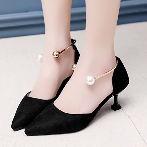 verano UE RUGAI Black sandalias zapatos zapatos Pearl mujer Señaló High de hueco Heeled A4rwnAx
