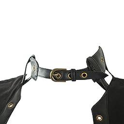 QinYing Retro Steel Boned Corset Sleeveless Steampunk Bustier Jacket with Belt Black XL