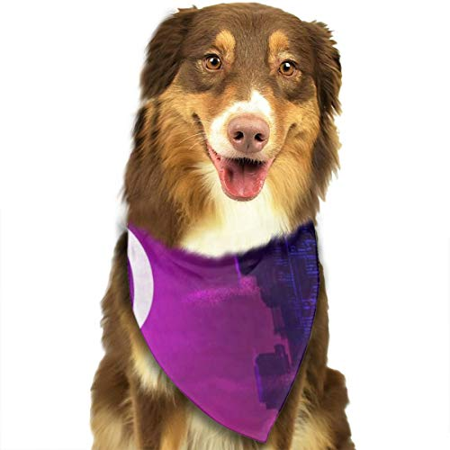 Pet Scarf Dog Bandana Bibs Triangle Head Scarfs Moon City Accessories for Cats Baby Puppy]()