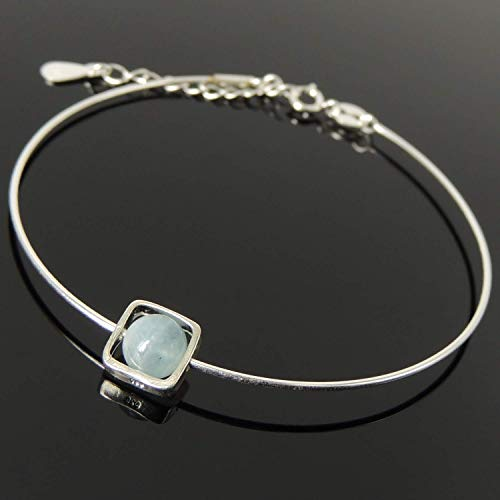 Planet Saturn Aquamarine Healing Crystal Gemstone, Handmade Adjustable Wire Bracelet, Minimal Square Swivel Ring Nickel & Lead Free Sterling Silver Parts Made in Italy, FREE Gift Box