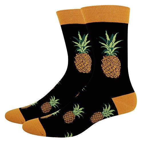 Zmart Men's Novelty Crazy Funky Pineapple Crew Socks Cool Funny Tropical Fruit Socks