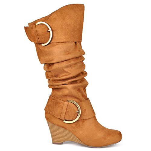 Brinley Co. Womens Regular and Wide-Calf Knee-High Buckle Slouch Wedge Boot Chestnut, 9 Regular US