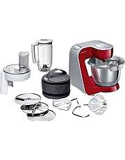 Bosch MUM58W20 CreationLine keukenmachine, roestvrij staal, 3,9 liter Zonder citruspers. 27.1 cm l x 28.2 cm w x 28 cm h Rot-silber (Deep Rot/Silber)