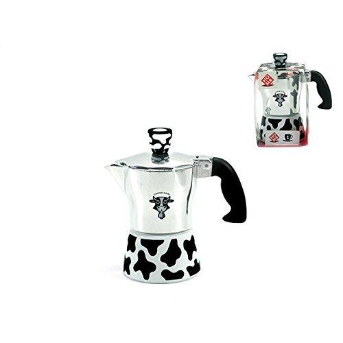HOME Vaca Cafetera de 1 Taza, Aluminio, Plata/Multicolor, 12 x 7 x ...