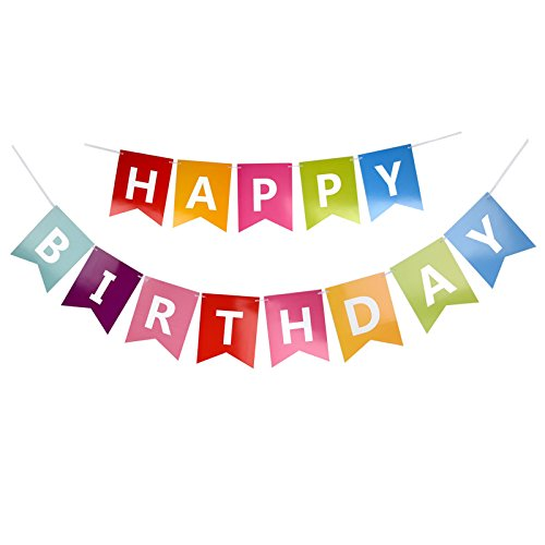 Fecedy Colorful Happy Birthday Banner Bunting: Amazon.co