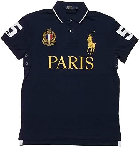 Polo Ralph Lauren Mens Custom Slim Fit Mesh City Polo Shirt (Small, Navy - Polo Lauren Shorts Ralph Mens
