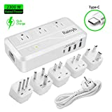 Rainyb 2300WVoltage Converter 220v to 110vUniversalTravel Adapter with Type-C, 3-PortUSB Charging and UK/AU/US/EU/IT/S.Africa