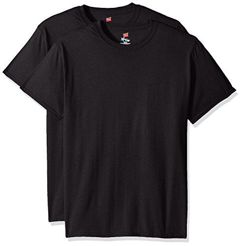 Hanes Men's Short Sleeve X-Temp W/ FreshIQ T-Shirt 2-Pack, Black, Large