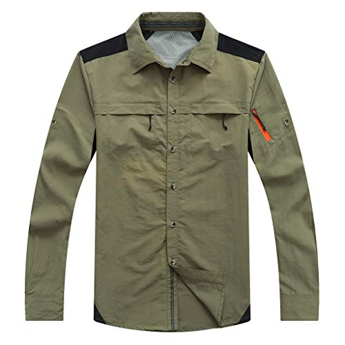 ANJUNIE Men's Thin Outdoor Jacket Sports Turn-Down Collar Cardigan Retro Outwear Casual T Shirts Tops (Army - Pearl 28 Inch
