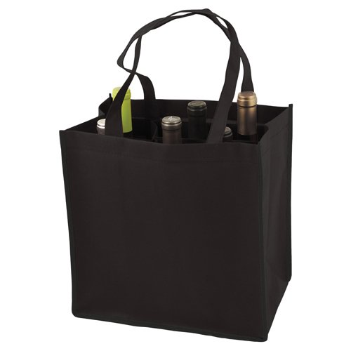 6 Bottle Non Woven Tote In Black by (Non Woven Bottle)