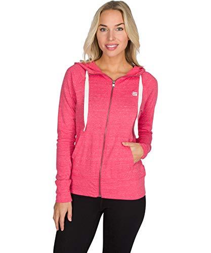 Dry Fit Sweatshirts for Women, Lightweight Zip Up Hoodie Sweater - Full Zip Hooded Jacket Deep Coral (Best Zip Up Hoodies Womens)