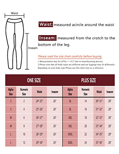 VALANDY High Waisted Leggings for Women Stretch Tummy Control Workout Running Yoga Pants Reg&Plus Size 7