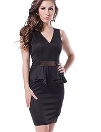 Women's Elegant Fake 2 Pieces V-Neck Bodycon Peplum Dress