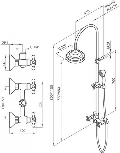 Grb 1866 - Grifo monobloc ducha con columna laton viejo: Amazon.es ...