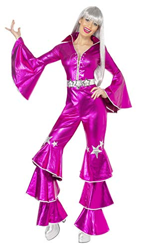 Smiffys Women's 1970's Dancing Dream Costume, Lace up Jumpsuit, 70 Disco, Serious Fun, Size 10-12, -